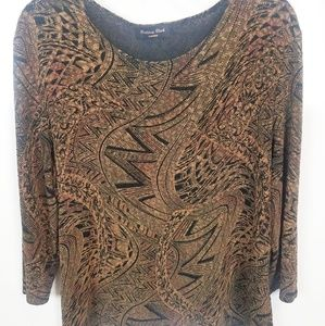3X Brittany Black 3/4 Length Sleeve Top